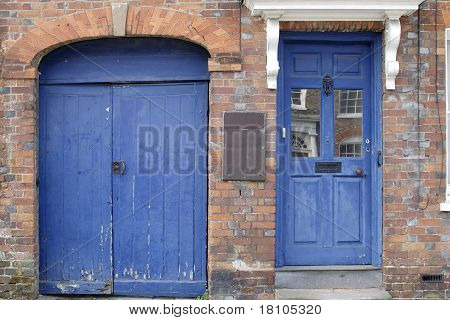 Blue Doors In Hungerford. England