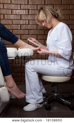 A procedure of pedicure