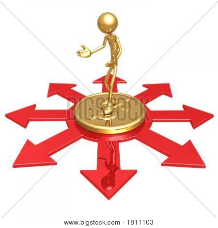 Choice Of Business Direction Standing On Gold Dollar Coin