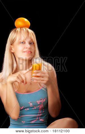 woman  drinking orange juce