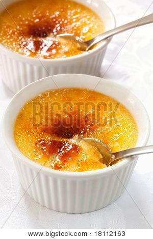 Creme brulee.  Traditional French vanilla cream dessert with caramelised sugar on top.