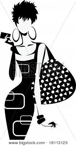 Silhouette Of Woman With Bag.eps