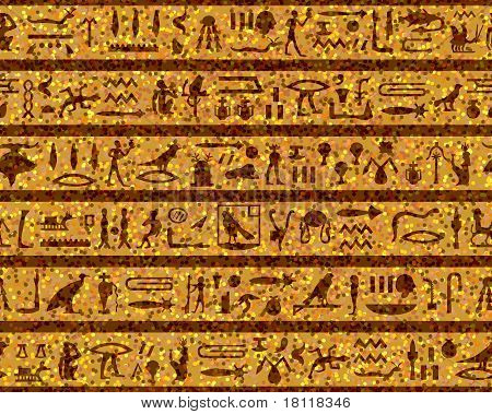Patrón de jeroglíficos egipcios inconsútil