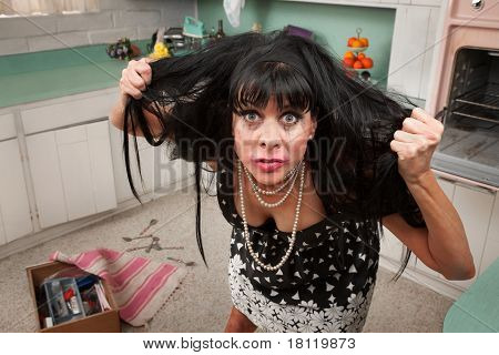 Woman Pulls Her Hair