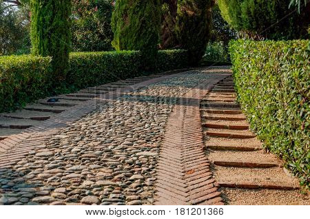 stone-lined walkway in the mediterranian park with bright greenery