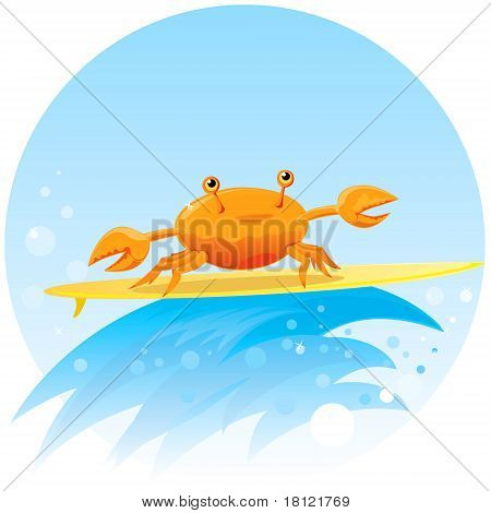 Cute Surfing Crab