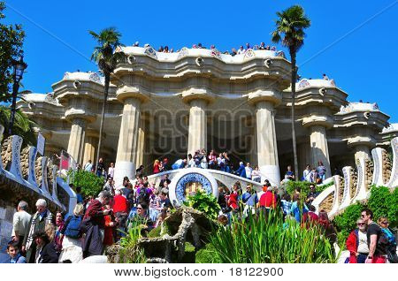 BARCELONA, SPAIN - MARCH 19: The famous Park Guell on March 19, 2011 in Barcelona, Spain. The famous park, designed by Antoni Gaudi, was built between 1900 and 1914 and opened as a public park in 1920