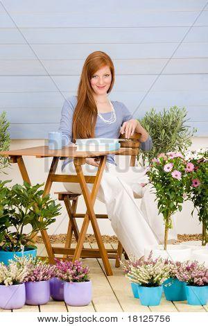 Summer Terrace Redhead Woman Relax In Garden