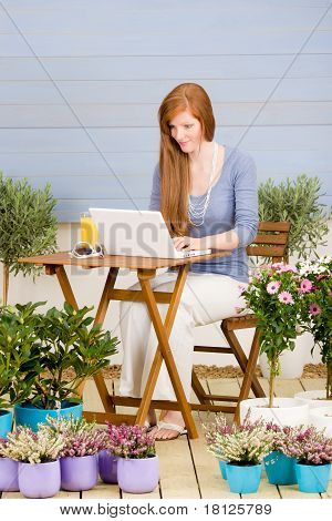Summer Terrace Redhead Woman With Laptop