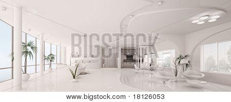 Innere des weißen Wohnung Panorama 3D Rendern