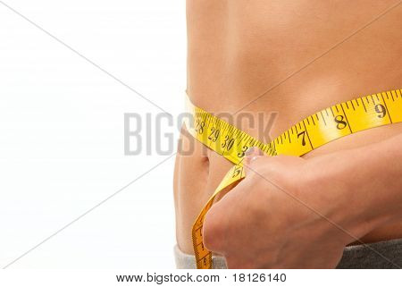 Woman Measuring Her Waist With Tape Measure
