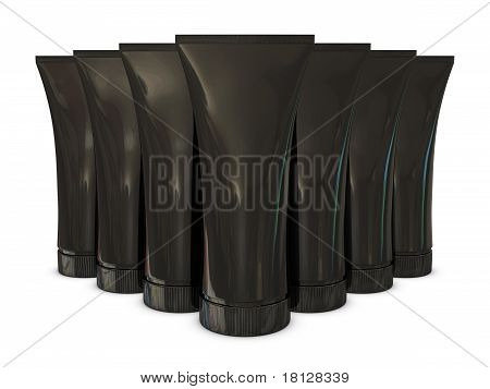Group of black tube packs with black caps