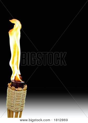 Tiki Torch On Black And White