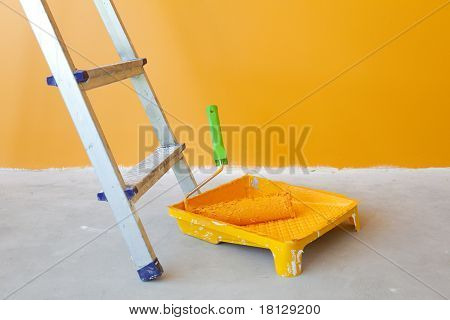 Home Improvement -  Ladder, Paint Can And Paint Roller