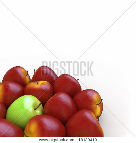 A green apple among many red apples