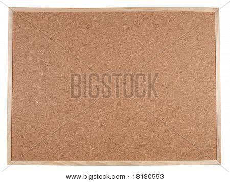 Blank corkboard with a wooden frame