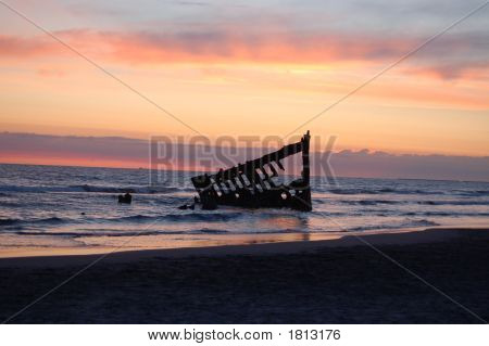Sunset At The Peter Iredale Shipwreck