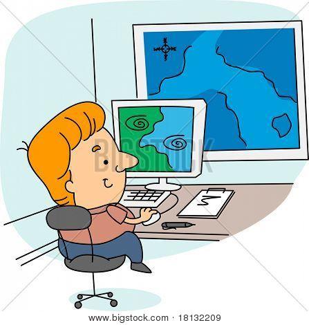 Illustration of a Meteorologist at Work