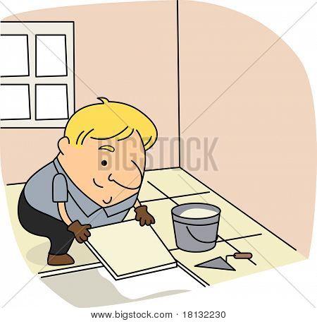 Illustration of a Tile Setter at Work