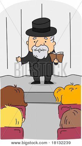 Illustration of a Rabbi at Work