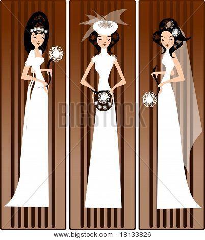 models in bridal dresses ,