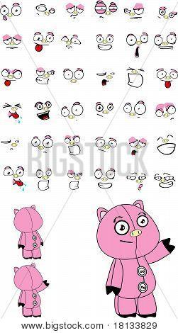 pig plush cartoon set