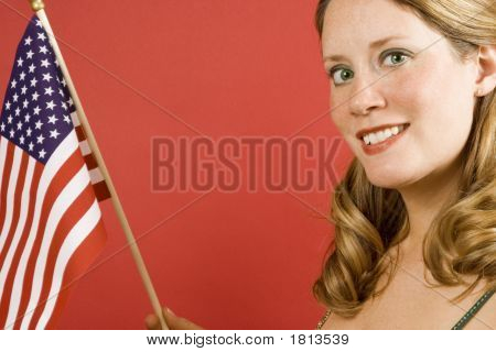 Woman And Flag