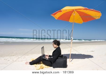 Businesswoman Working At Beach