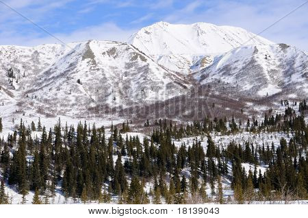 Mountain in Alaska Range in the Spring