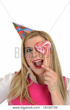 Pretty Party Female Celebrating Birthsday. Isolated