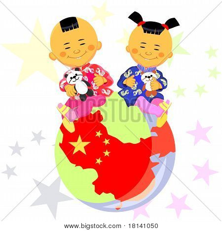 Vector Chinese Boy And Girl