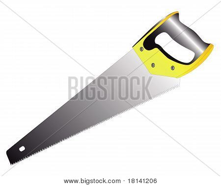 Hacksaw On Wood With A Yellow-black Handle