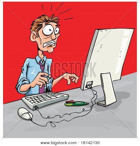 Cartoon Office Worker Shocked