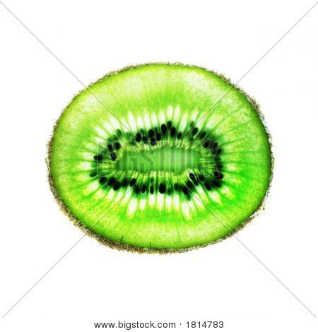Kiwi Fruit Slice On White