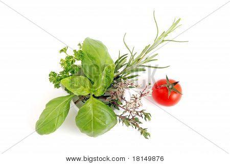 herbs and cherry tomato
