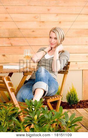 Garden Happy Woman Enjoy Glass Wine Terrace