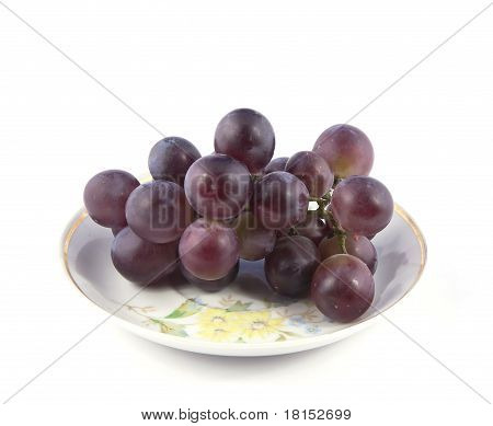 Red Grapes On A Small Plate
