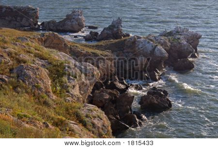 Rocky Coast And Waves