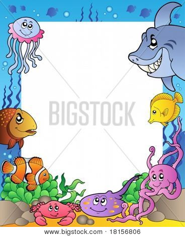 Frame with sea fishes 1 - vector illustration.