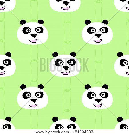 Panda face seamless pattern. Stock vector illustration of chherful animal portrait based decoration.