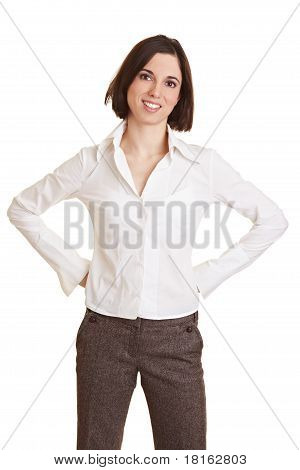 Business Woman With Arms Akimbo