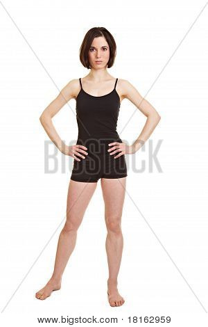 Slim Sportive Woman With Arms Akimbo