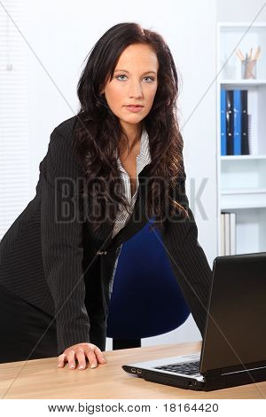 Beautiful Business Woman Standing In Office
