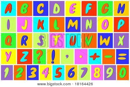 Mehrfarbige Alphabet.