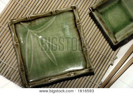 Square Sushi Plates With Chopsticks