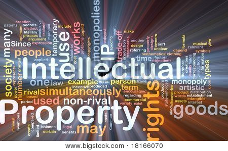 Background concept wordcloud illustration of intellectual property glowing light