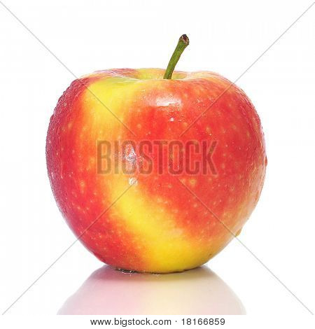 a fresh apple on a white background