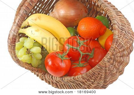 Wicker Basket Of Fresh Produce