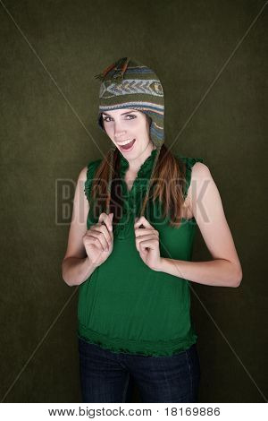 Happy Young Woman With Knit Cap