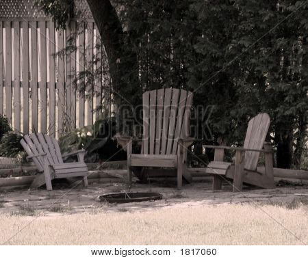 Chairs By The Fire Pit.